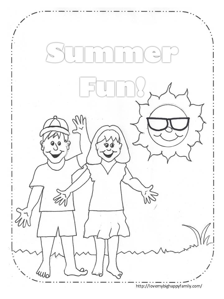 Summer Fun Coloring Page ~ Love My Big Happy Family
