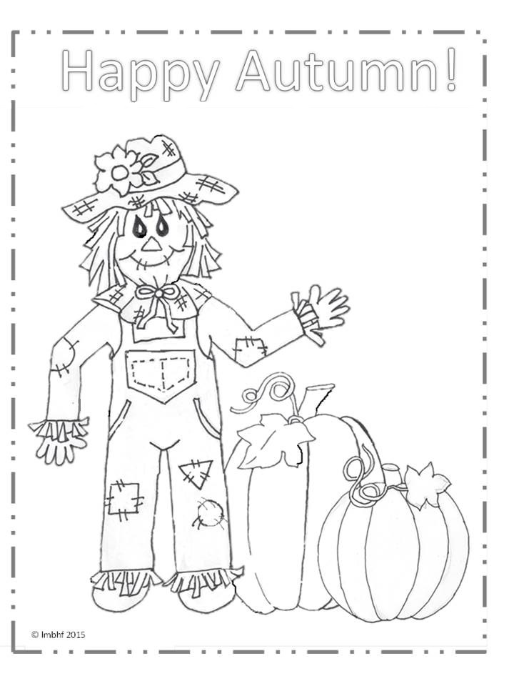 Happy Autumn Scarecrow Coloring