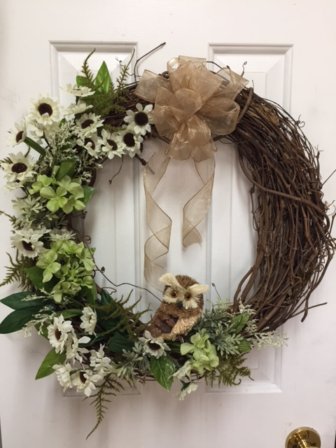 Brown and Green Owl Wreath