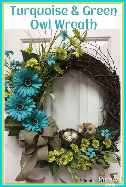 Turqoise and Green Owl Wreath