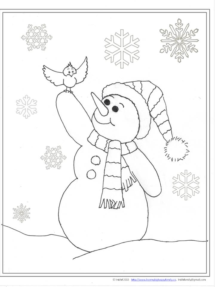 Cheerful Snowman Coloring Page Love My Big Happy Family
