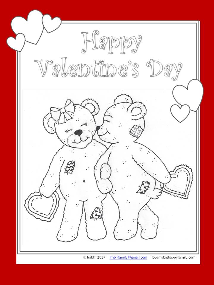 Coloring Page Valentines Day Bears