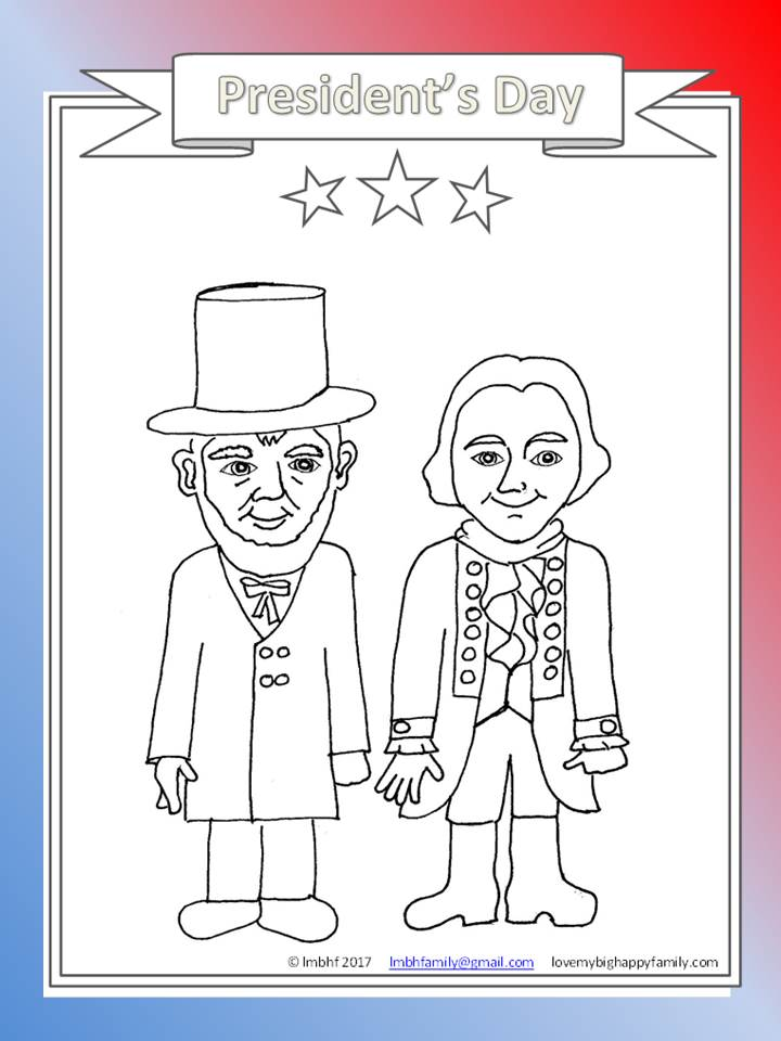 President\'s Day Coloring Page ~ Love My Big Happy Family