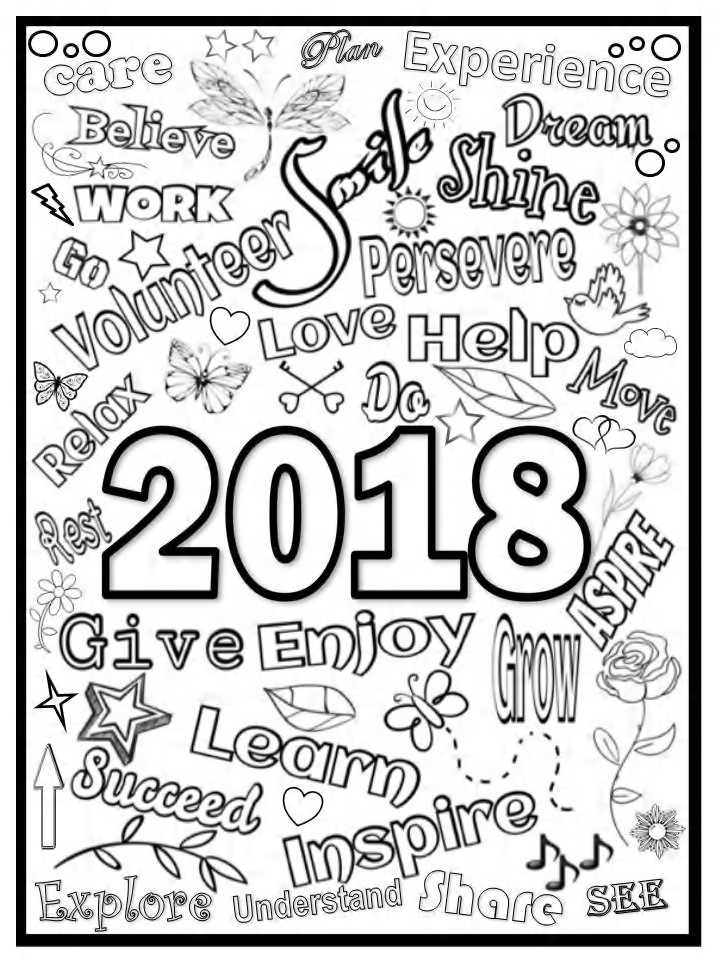 New year 39 s coloring page 2018 free coloring page for New year coloring pages 2017