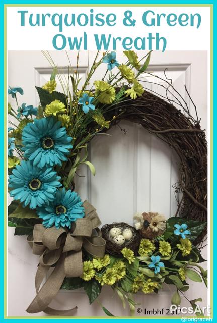 Turqoise and Green Owl Wreath